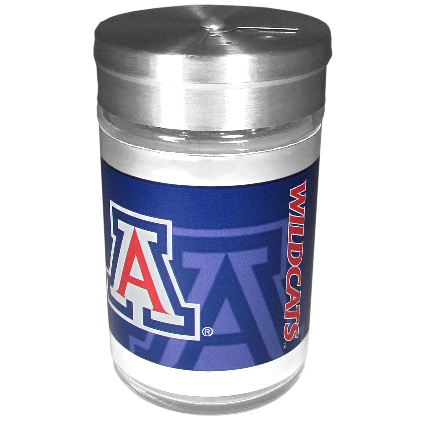 Arizona Wildcats Tailgater Season Shakers - Spice it up with our Arizona Wildcats tailgater season shakers! This compact shaker is 2 inch tall with a twist top that closes off the holes at the top making it perfect for travel preventing those messy spills. The shaker has wide holes perfect for keeping your pepper seeds or cheese toppings. The bright team graphics will make you the envy of the other fans while you are grilling up your tailgating goodies.