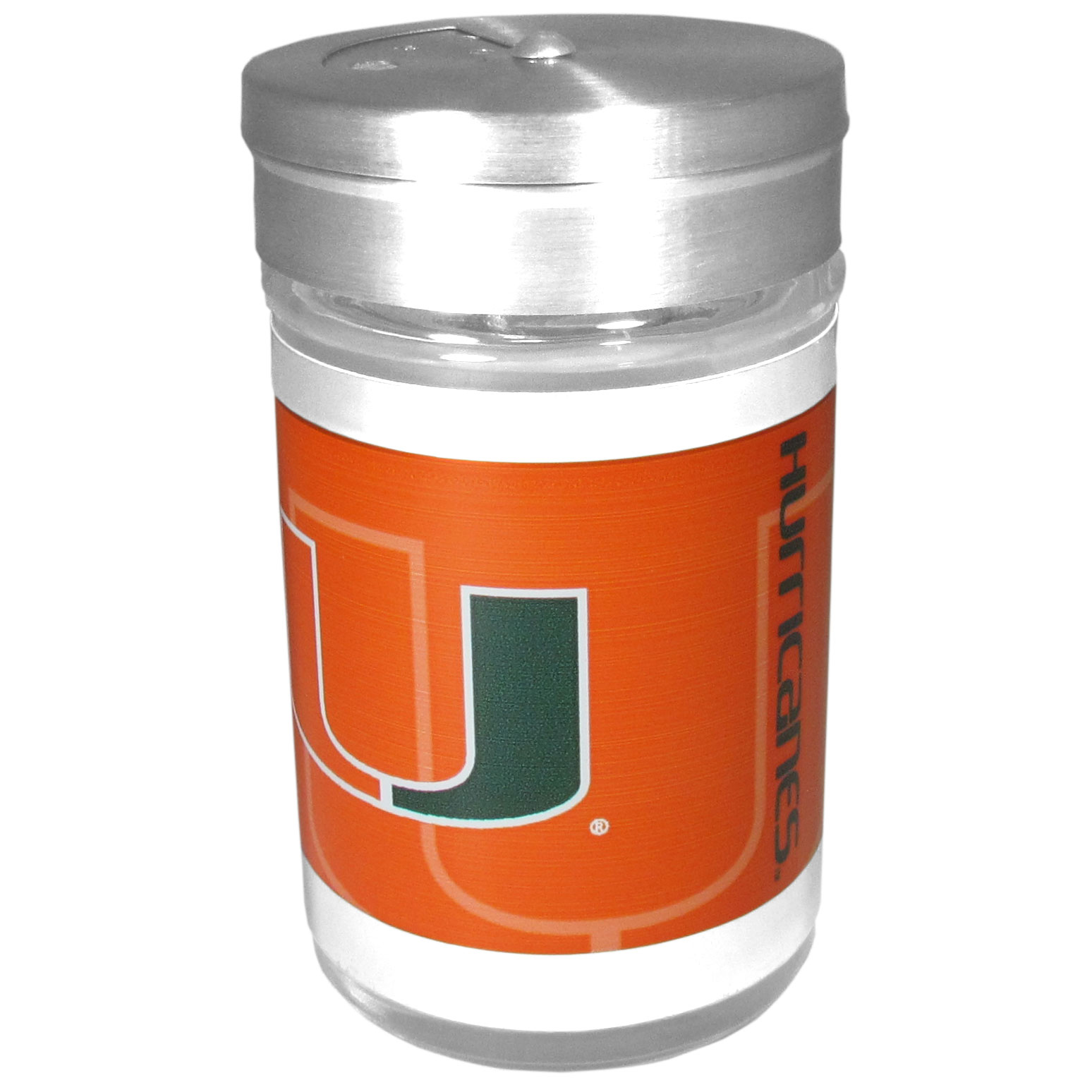 Miami Hurricanes Tailgater Season Shakers - Spice it up with our Miami Hurricanes tailgater season shakers! This compact shaker is 2 inch tall with a twist top that closes off the holes at the top making it perfect for travel preventing those messy spills. The shaker has wide holes perfect for keeping your pepper seeds or cheese toppings. The bright team graphics will make you the envy of the other fans while you are grilling up your tailgating goodies.