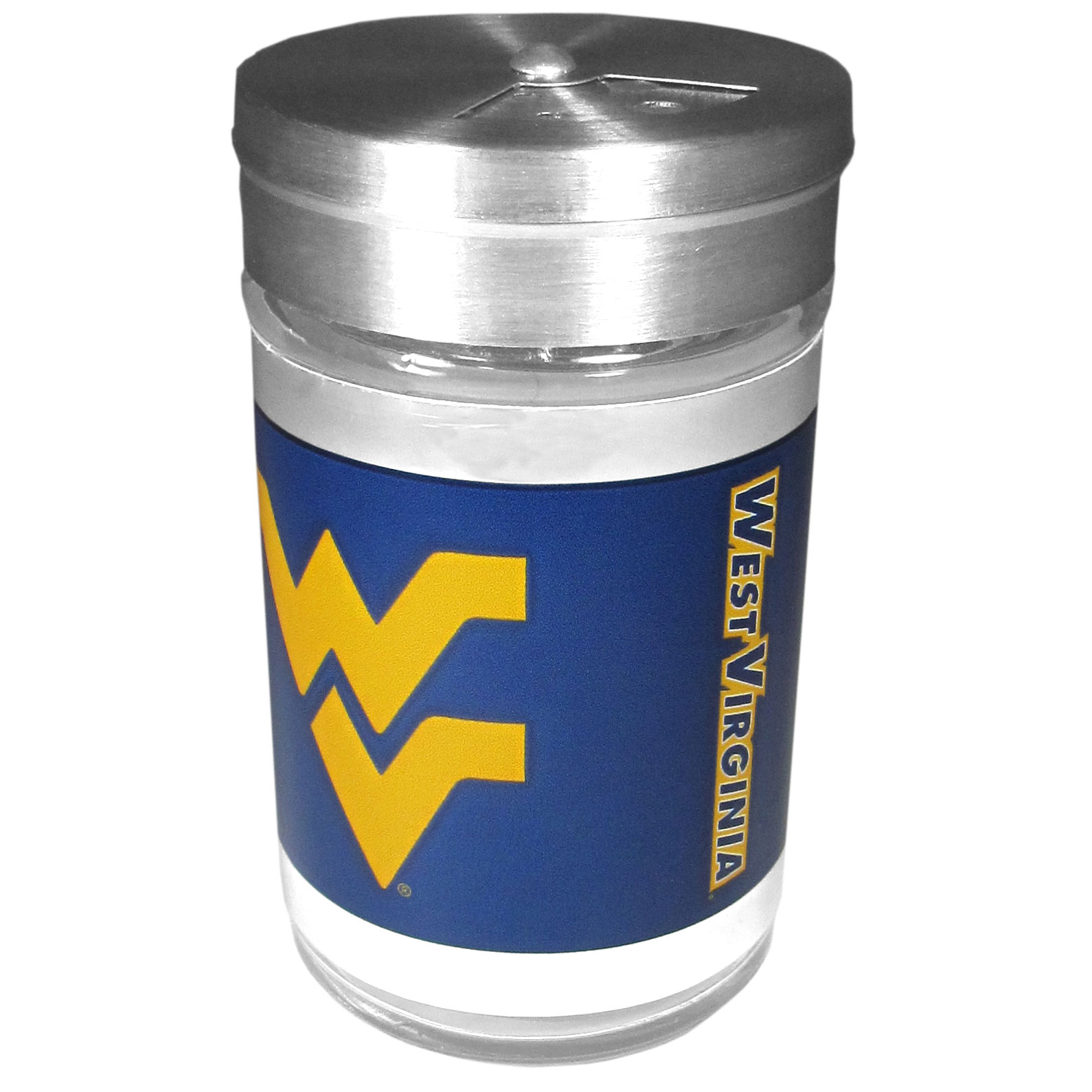 W. Virginia Mountaineers Tailgater Season Shakers - Spice it up with our W. Virginia Mountaineers tailgater season shakers! This compact shaker is 2 inch tall with a twist top that closes off the holes at the top making it perfect for travel preventing those messy spills. The shaker has wide holes perfect for keeping your pepper seeds or cheese toppings. The bright team graphics will make you the envy of the other fans while you are grilling up your tailgating goodies.