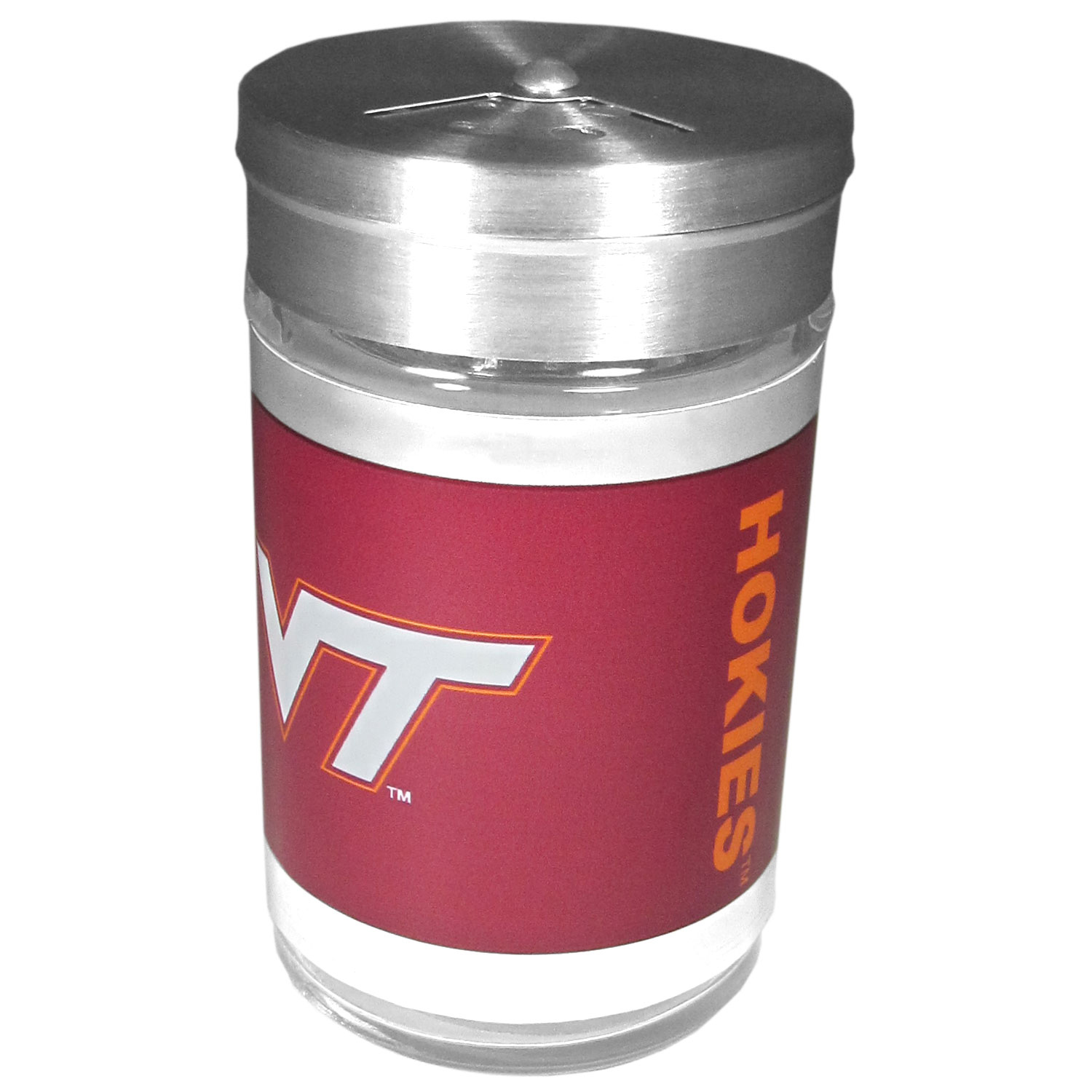 Virginia Tech Hokies Tailgater Season Shakers - Spice it up with our Virginia Tech Hokies tailgater season shakers! This compact shaker is 2 inch tall with a twist top that closes off the holes at the top making it perfect for travel preventing those messy spills. The shaker has wide holes perfect for keeping your pepper seeds or cheese toppings. The bright team graphics will make you the envy of the other fans while you are grilling up your tailgating goodies.