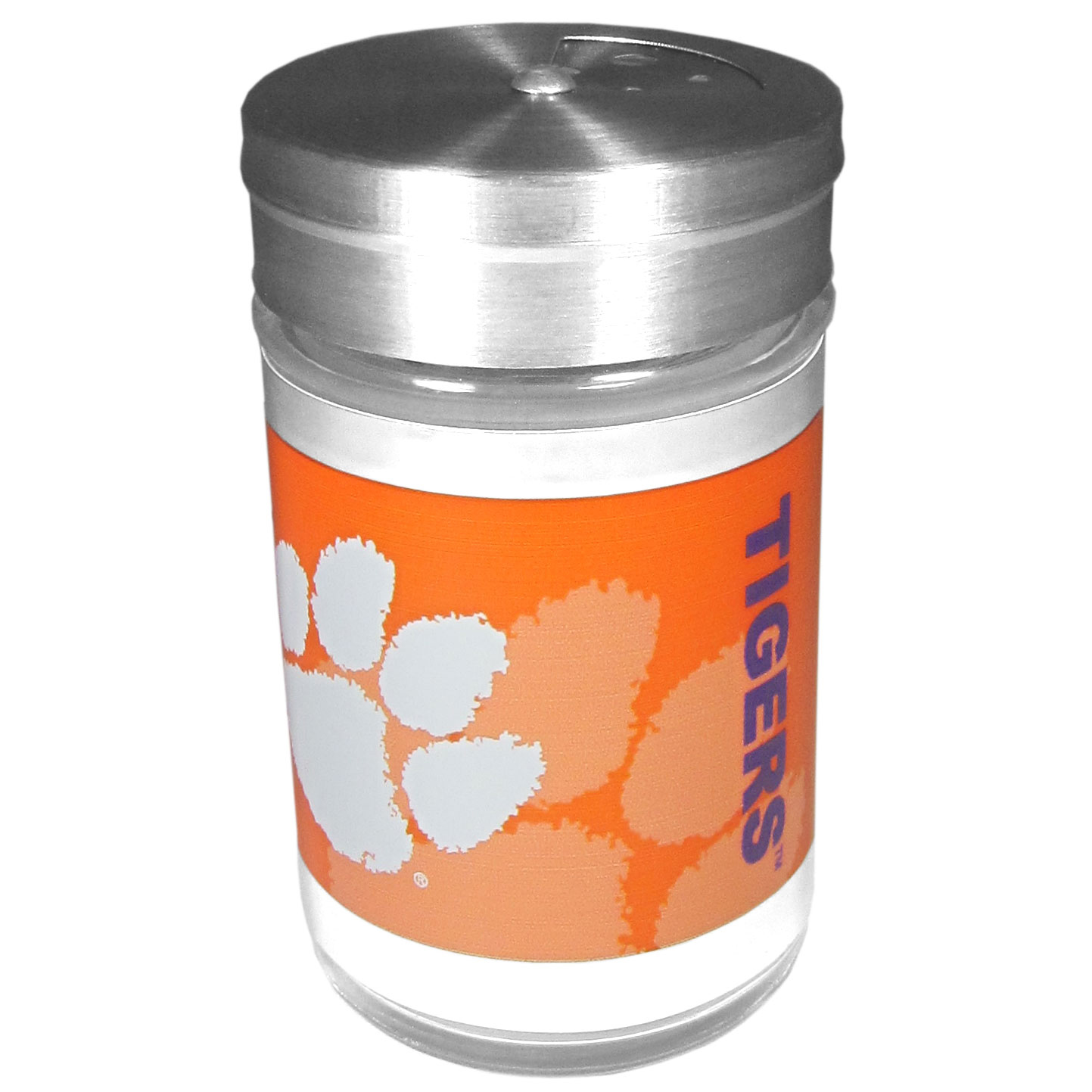 Clemson Tigers Tailgater Season Shakers - Spice it up with our Clemson Tigers tailgater season shakers! This compact shaker is 2 inch tall with a twist top that closes off the holes at the top making it perfect for travel preventing those messy spills. The shaker has wide holes perfect for keeping your pepper seeds or cheese toppings. The bright team graphics will make you the envy of the other fans while you are grilling up your tailgating goodies.