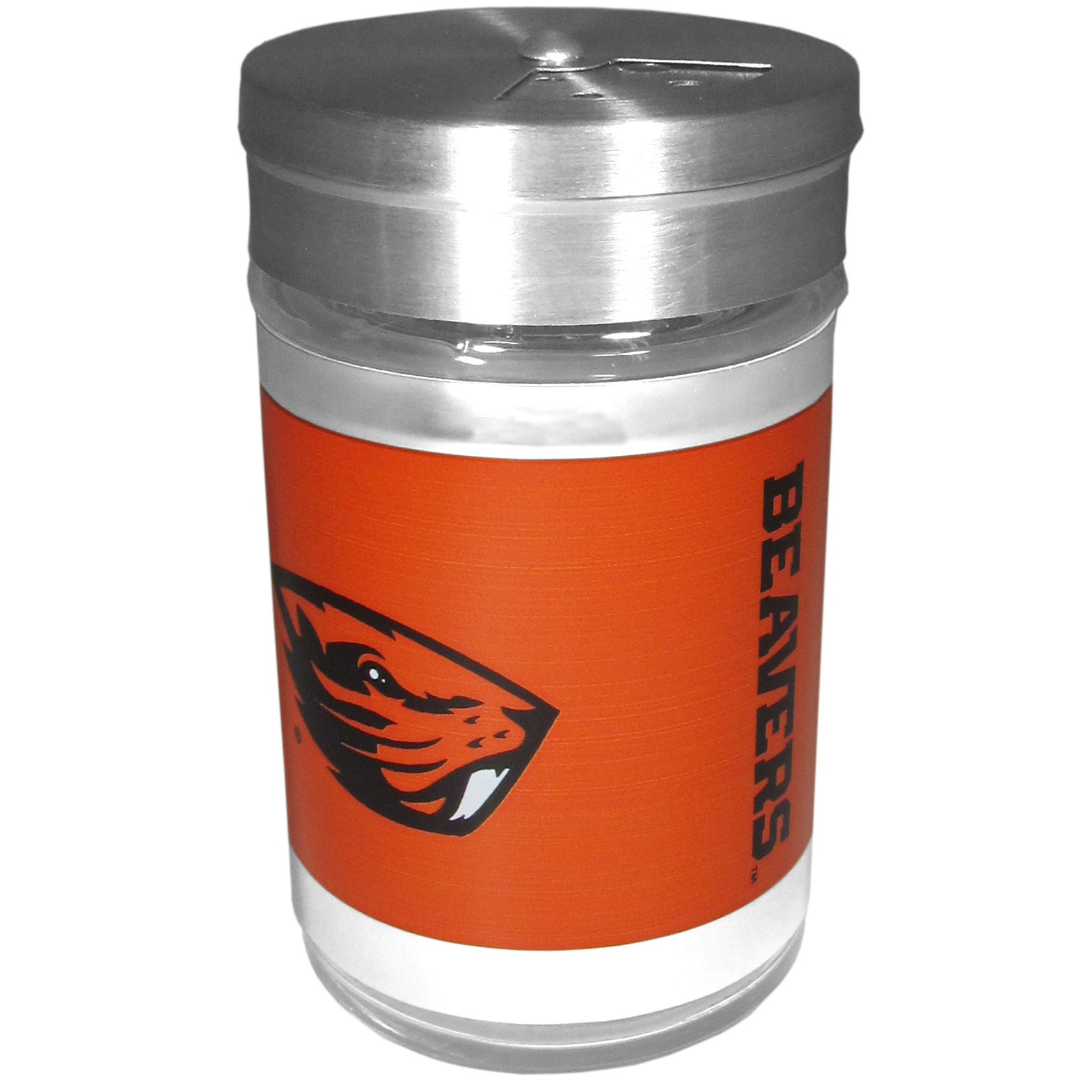 Oregon St. Beavers Tailgater Season Shakers - Spice it up with our Oregon St. Beavers tailgater season shakers! This compact shaker is 2 inch tall with a twist top that closes off the holes at the top making it perfect for travel preventing those messy spills. The shaker has wide holes perfect for keeping your pepper seeds or cheese toppings. The bright team graphics will make you the envy of the other fans while you are grilling up your tailgating goodies.