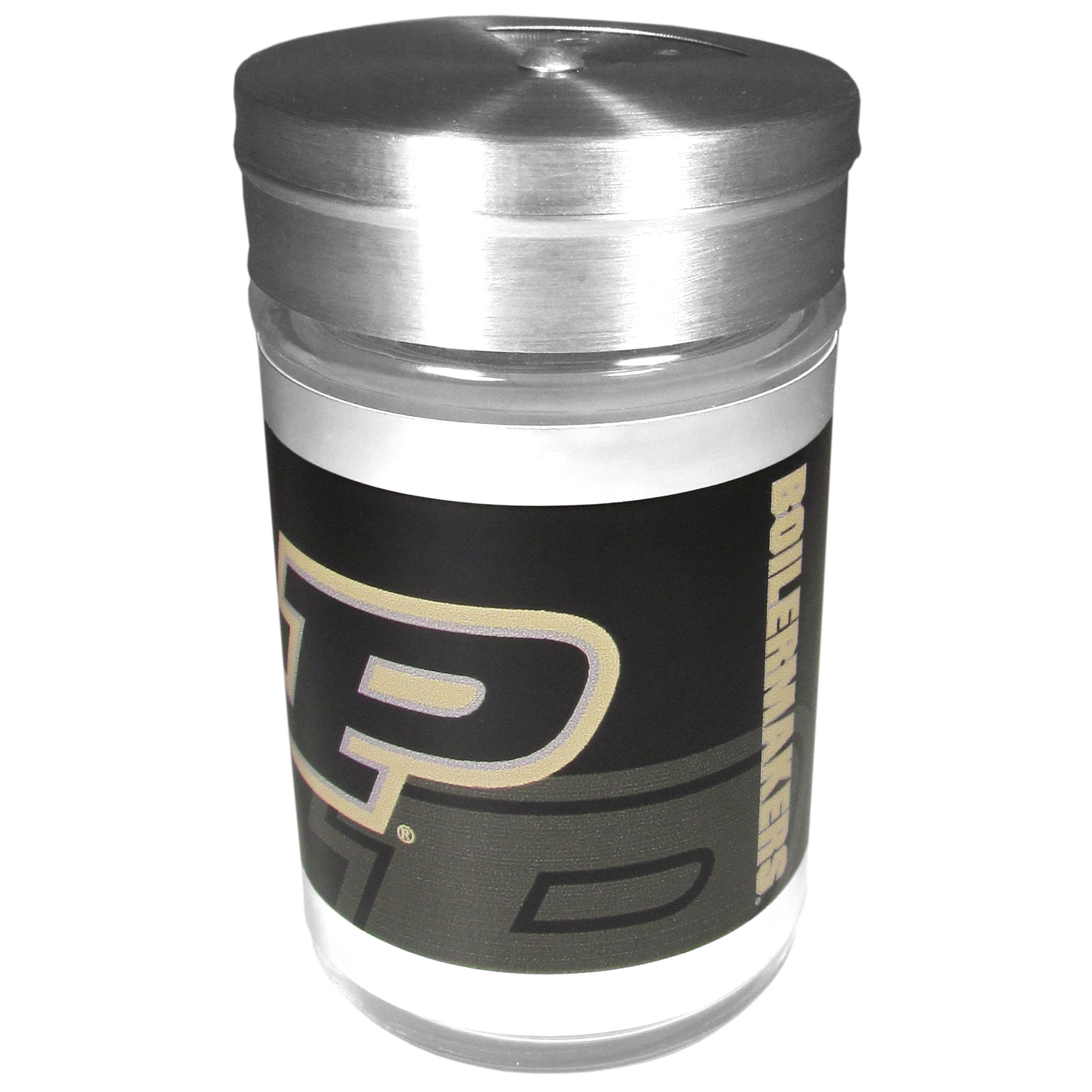 Purdue Boilermakers Tailgater Season Shakers - Spice it up with our Purdue Boilermakers tailgater season shakers! This compact shaker is 2 inch tall with a twist top that closes off the holes at the top making it perfect for travel preventing those messy spills. The shaker has wide holes perfect for keeping your pepper seeds or cheese toppings. The bright team graphics will make you the envy of the other fans while you are grilling up your tailgating goodies.