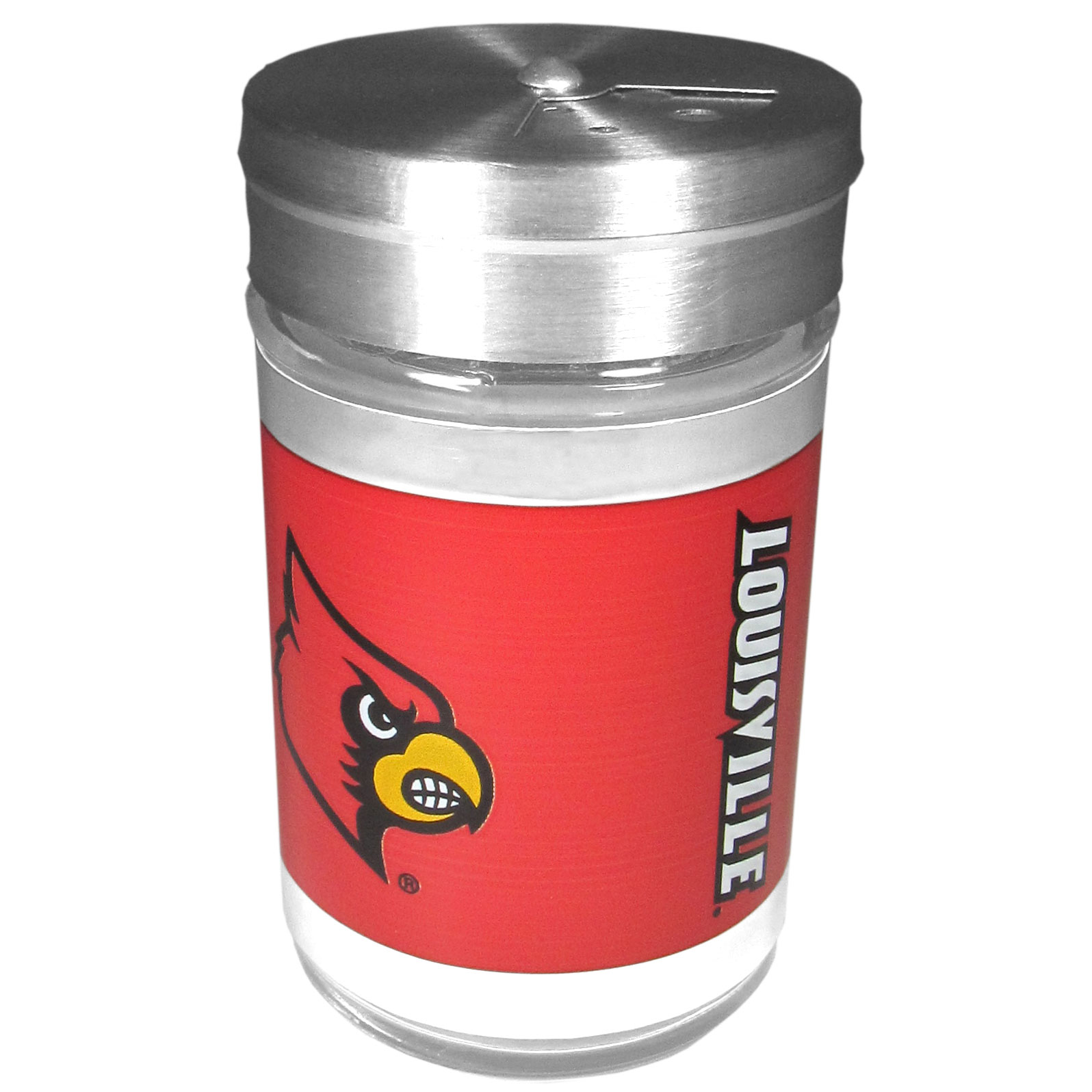 Louisville Cardinals Tailgater Season Shakers - Spice it up with our Louisville Cardinals tailgater season shakers! This compact shaker is 2 inch tall with a twist top that closes off the holes at the top making it perfect for travel preventing those messy spills. The shaker has wide holes perfect for keeping your pepper seeds or cheese toppings. The bright team graphics will make you the envy of the other fans while you are grilling up your tailgating goodies.
