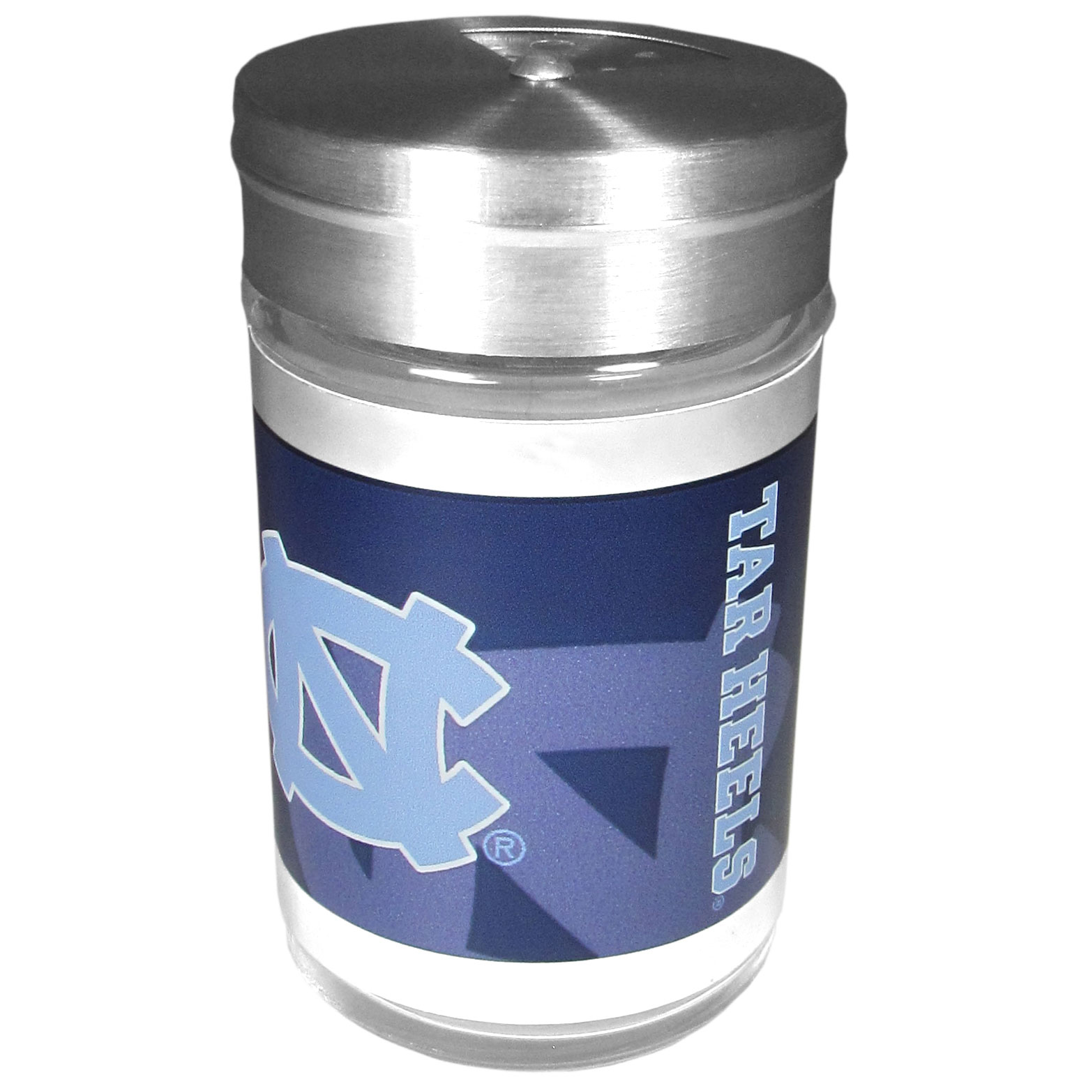 N. Carolina Tar Heels Tailgater Season Shakers - Spice it up with our N. Carolina Tar Heels tailgater season shakers! This compact shaker is 2 inch tall with a twist top that closes off the holes at the top making it perfect for travel preventing those messy spills. The shaker has wide holes perfect for keeping your pepper seeds or cheese toppings. The bright team graphics will make you the envy of the other fans while you are grilling up your tailgating goodies.