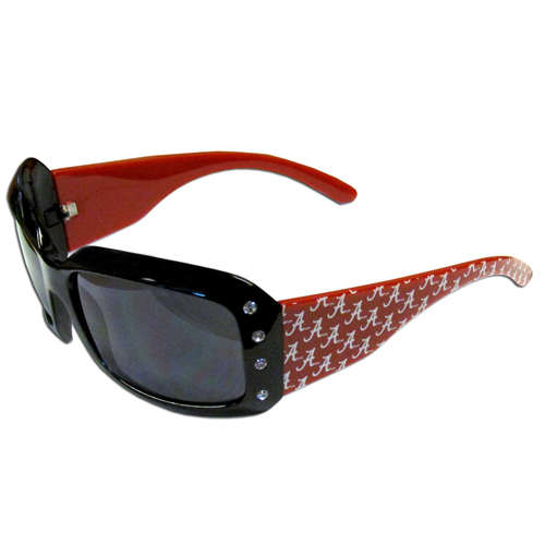 Alabama Crimson Tide Designer Sunglasses with Rhinestones - Our designer women's sunglasses have a repeating Alabama Crimson Tide logo design on the team colored arms and rhinestone accents. 100% UVA/UVB protection. Thank you for shopping with CrazedOutSports.com
