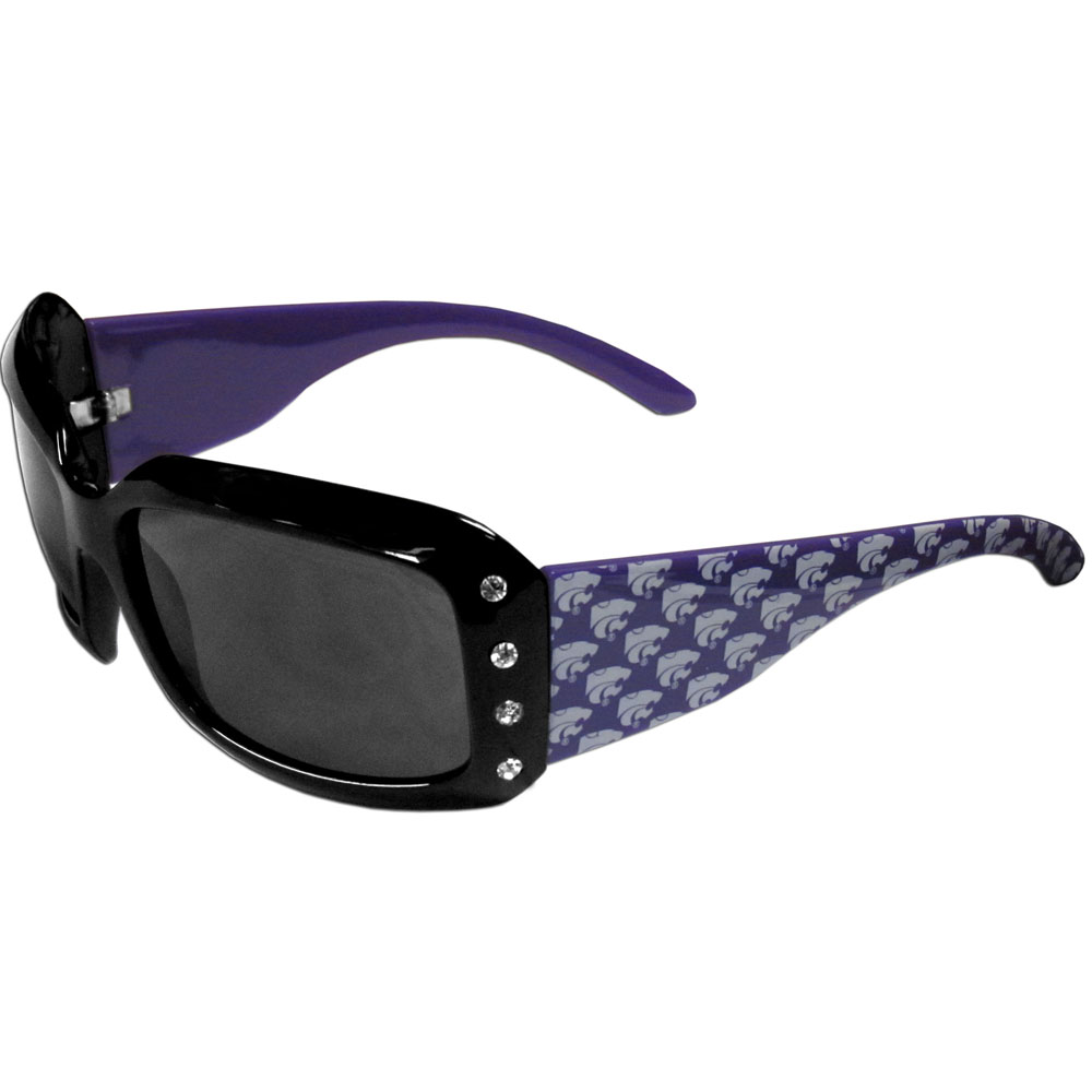 Kansas St. Wildcats Designer Women's Sunglasses - Our designer women's sunglasses have a repeating Kansas St. Wildcats logo design on the team colored arms and rhinestone accents. 100% UVA/UVB protection.