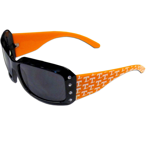 Tennessee Designer Sunglasses with Rhinestones - Our designer women's sunglasses have a repeating logo design on the team colored arms and rhinestone accents. 100% UVA/UVB protection. Thank you for shopping with CrazedOutSports.com