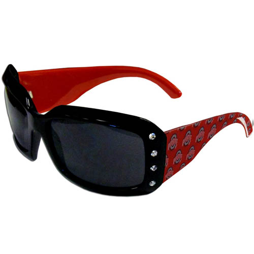 Ohio St. Designer Sunglasses with Rhinestones - Our designer women's sunglasses have a repeating logo design on the team colored arms and rhinestone accents. 100% UVA/UVB protection. Thank you for shopping with CrazedOutSports.com