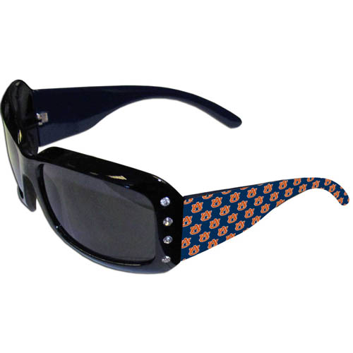 Auburn Tigers Designer Sunglasses with Rhinestones - Our designer women's sunglasses have a repeating Auburn Tigers logo design on the team colored arms and rhinestone accents. 100% UVA/UVB protection. Thank you for shopping with CrazedOutSports.com