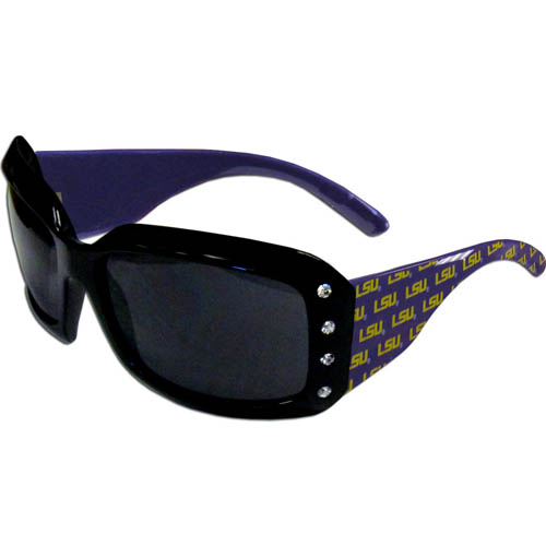 LSU Tigers Designer Sunglasses with Rhinestones - LSU Tigers Designer Women's Sunglasses with Rhinestones sunglasses have a repeating logo design on the team colored arms and rhinestone accents. 100% UVA/UVB protection. LSU Tigers Designer Sunglasses with Rhinestones are the perfect gift and look great! Thank you for shopping with CrazedOutSports.com
