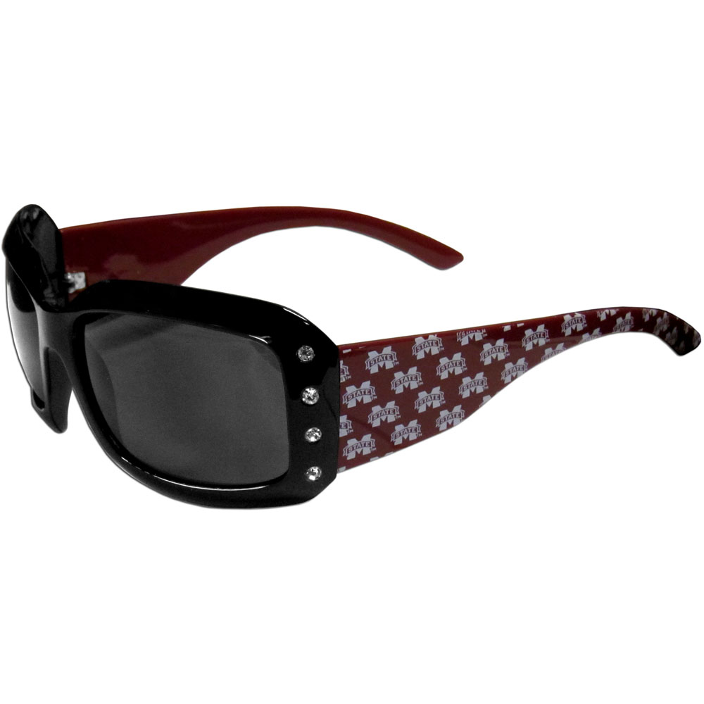 Mississippi St. Bulldogs Designer Women's Sunglasses - Our designer women's sunglasses have a repeating Mississippi St. Bulldogs logo design on the team colored arms and rhinestone accents. 100% UVA/UVB protection.