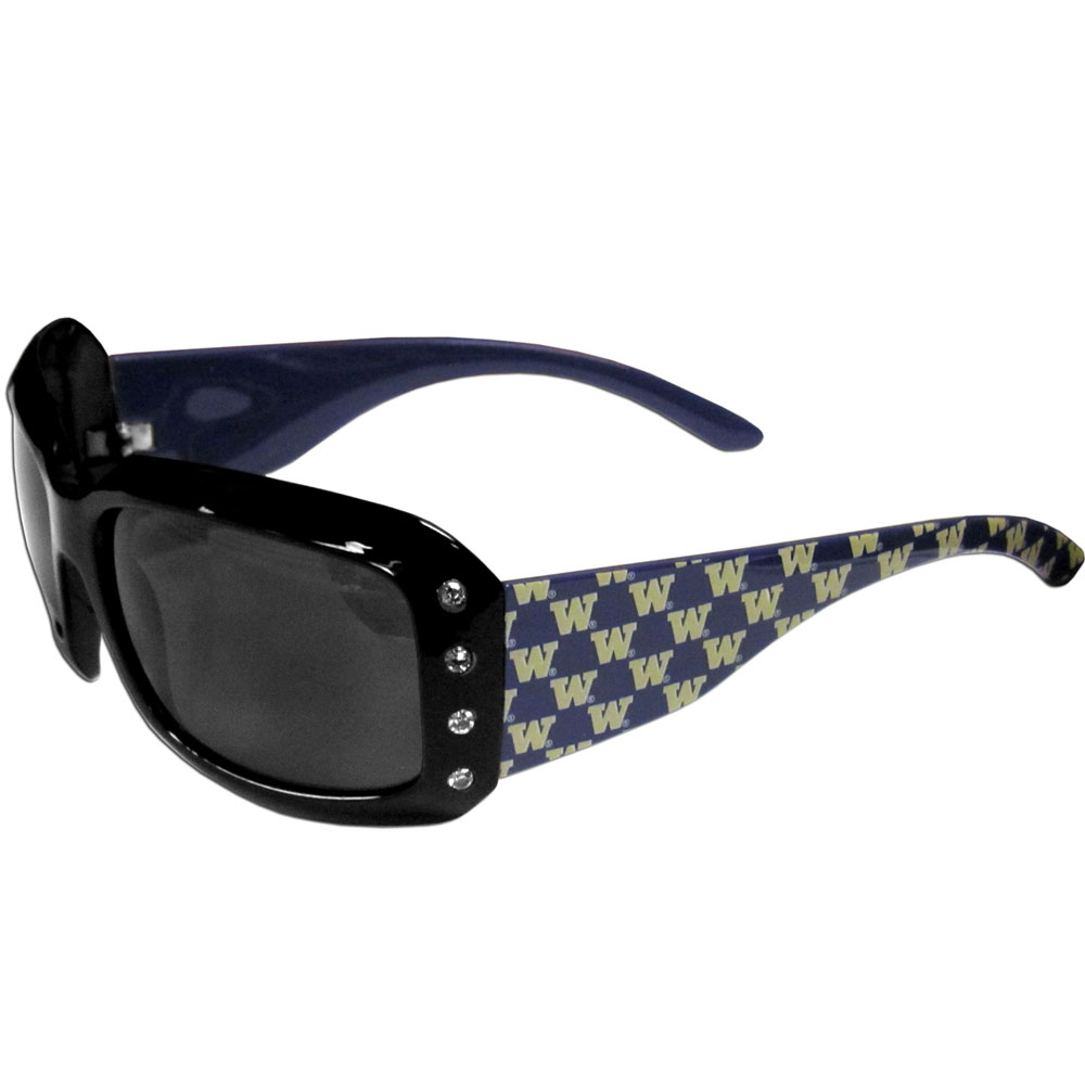 Washington Huskies Designer Women's Sunglasses - Our designer women's sunglasses have a repeating Washington Huskies logo design on the team colored arms and rhinestone accents. 100% UVA/UVB protection.