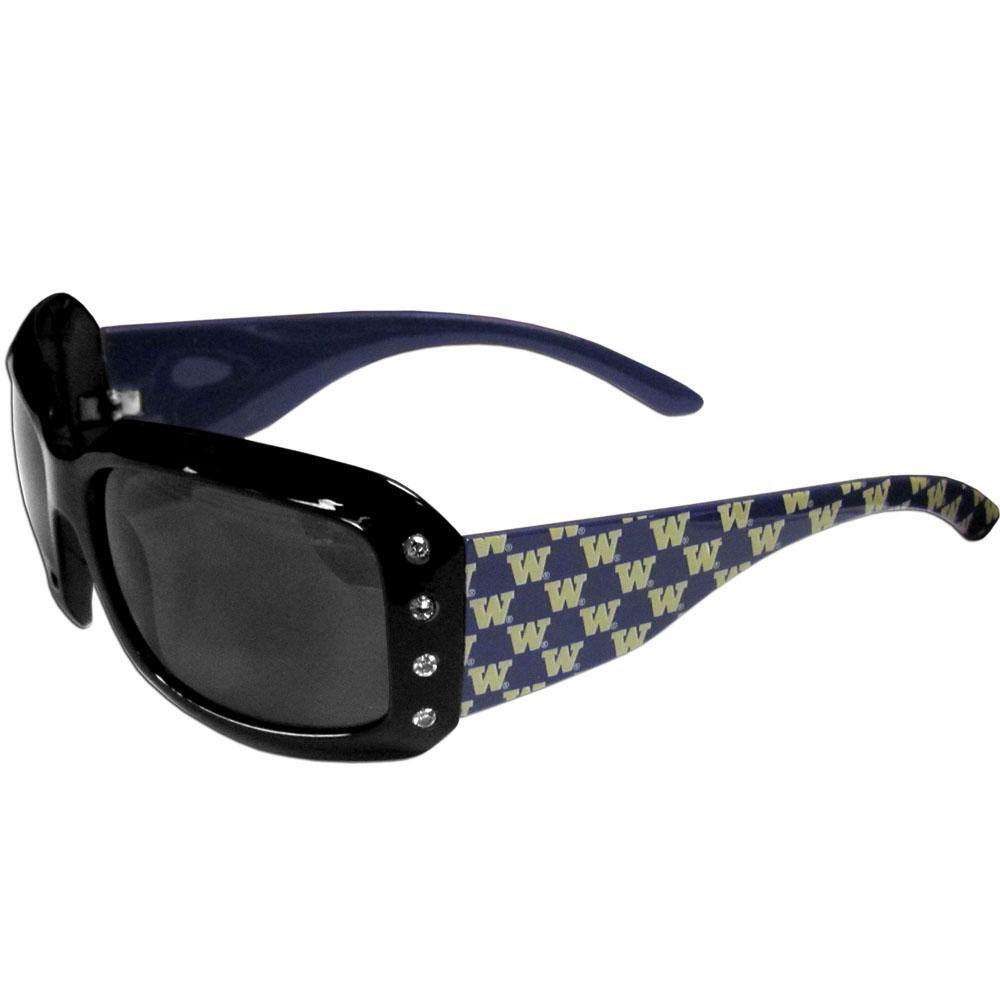 Washington Huskies Designer Women's Sunglasses - Our designer women's sunglasses have a repeating Washington Huskies logo design on the team colored arms and rhinestone accents. 100% UVA/UVB protection.