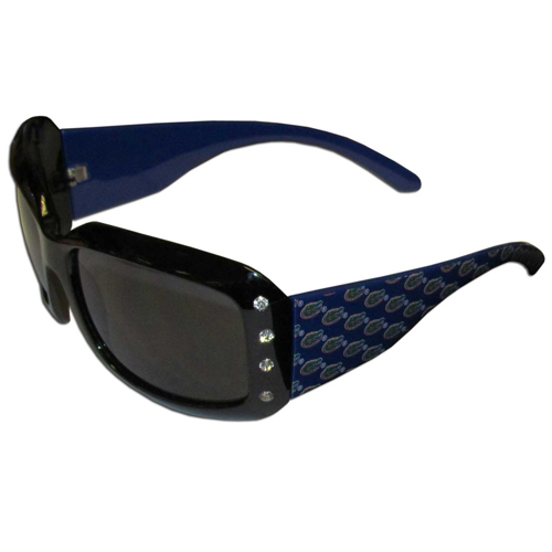 Florida Gators Designer Sunglasses with Rhinestones - Our designer women's sunglasses have a repeating Florida Gators logo design on the Florida Gators team colored arms and rhinestone accents. 100% UVA/UVB protection. Thank you for shopping with CrazedOutSports.com