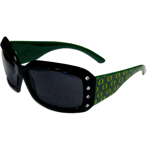 Oregon Designer Sunglasses with Rhinestones - Our designer women's sunglasses have a repeating logo design on the team colored arms and rhinestone accents. 100% UVA/UVB protection. Thank you for shopping with CrazedOutSports.com
