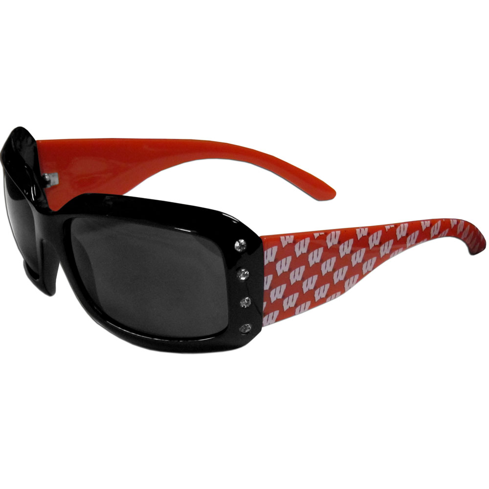 Wisconsin Badgers Designer Women's Sunglasses - Our designer women's sunglasses have a repeating Wisconsin Badgers logo design on the team colored arms and rhinestone accents. 100% UVA/UVB protection.