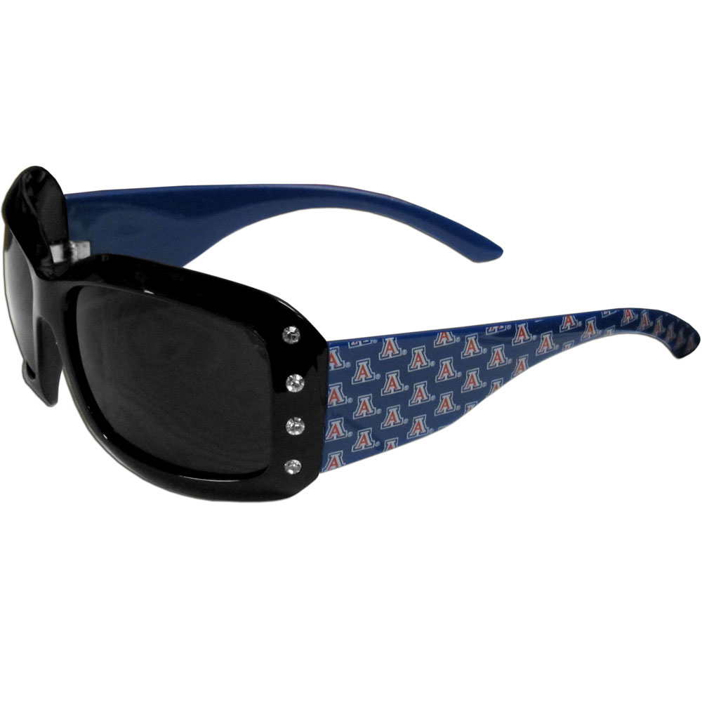 Arizona Wildcats Designer Women's Sunglasses - Our designer women's sunglasses have a repeating Arizona Wildcats logo design on the team colored arms and rhinestone accents. 100% UVA/UVB protection.