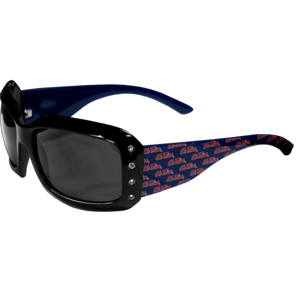 Mississippi Rebels Designer Women's Sunglasses - Our designer women's sunglasses have a repeating Mississippi Rebels logo design on the team colored arms and rhinestone accents. 100% UVA/UVB protection.