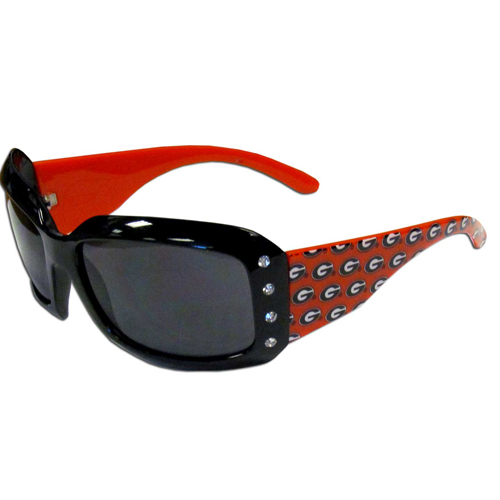 Georgia Bulldogs Designer Sunglasses with Rhinestones - These Georgia Bulldogs designer women's sunglasses have a repeating logo design on the Georgia Bulldogs team colored arms and rhinestone accents. 100% UVA/UVB protection. Thank you for shopping with CrazedOutSports.com