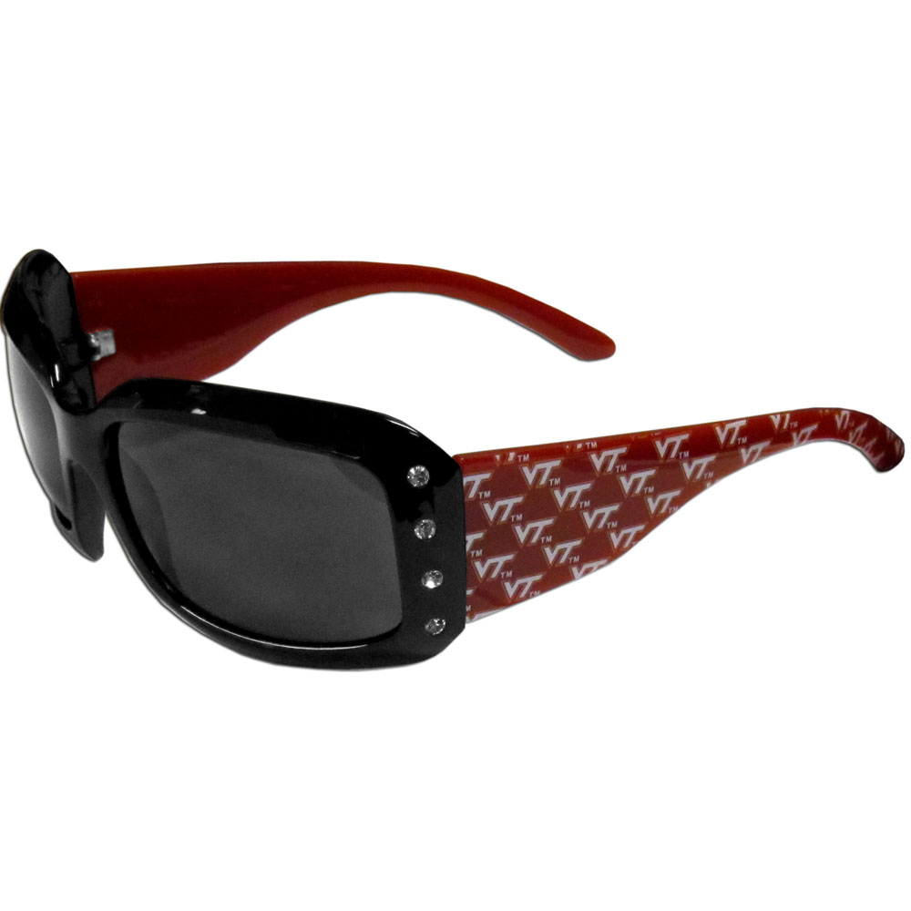 Virginia Tech Hokies Designer Women's Sunglasses - Our designer women's sunglasses have a repeating Virginia Tech Hokies logo design on the team colored arms and rhinestone accents. 100% UVA/UVB protection.