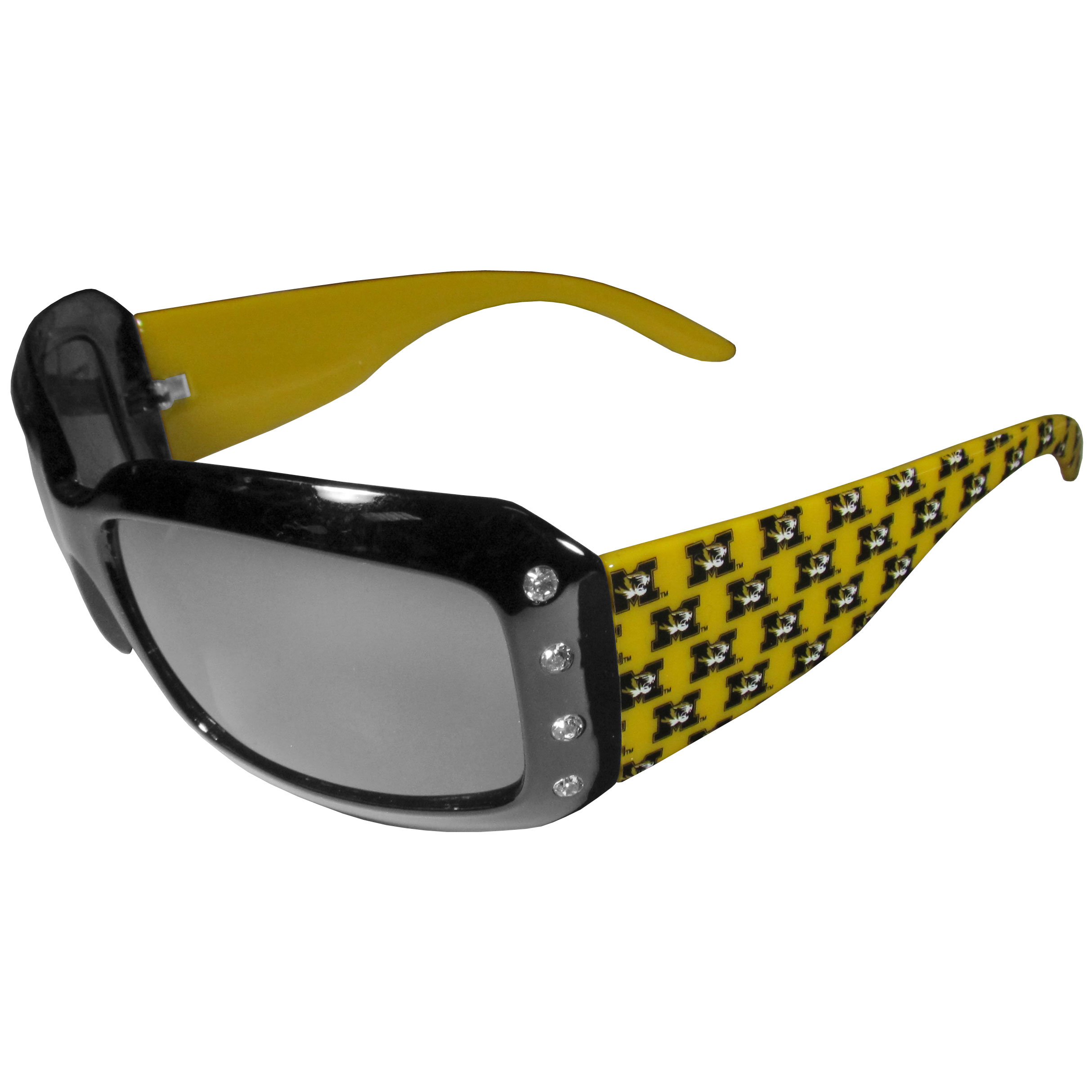 Missouri Tigers Designer Women's Sunglasses - Our designer women's sunglasses have a repeating Missouri Tigers logo design on the team colored arms and rhinestone accents. 100% UVA/UVB protection.