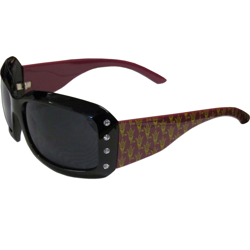 Arizona St. Sun Devils Designer Women's Sunglasses - Our designer women's sunglasses have a repeating Arizona St. Sun Devils logo design on the team colored arms and rhinestone accents. 100% UVA/UVB protection.