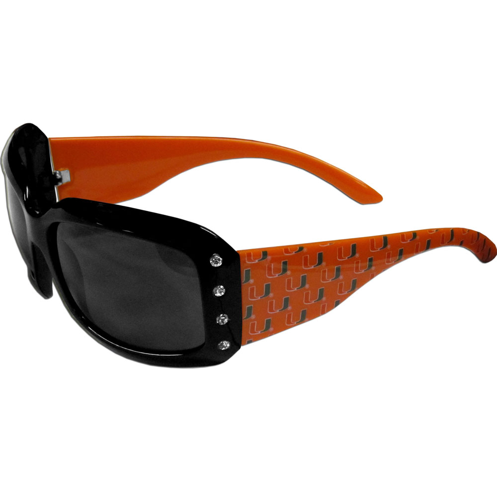 Miami Hurricanes Designer Women's Sunglasses - Our designer women's sunglasses have a repeating Miami Hurricanes logo design on the team colored arms and rhinestone accents. 100% UVA/UVB protection.