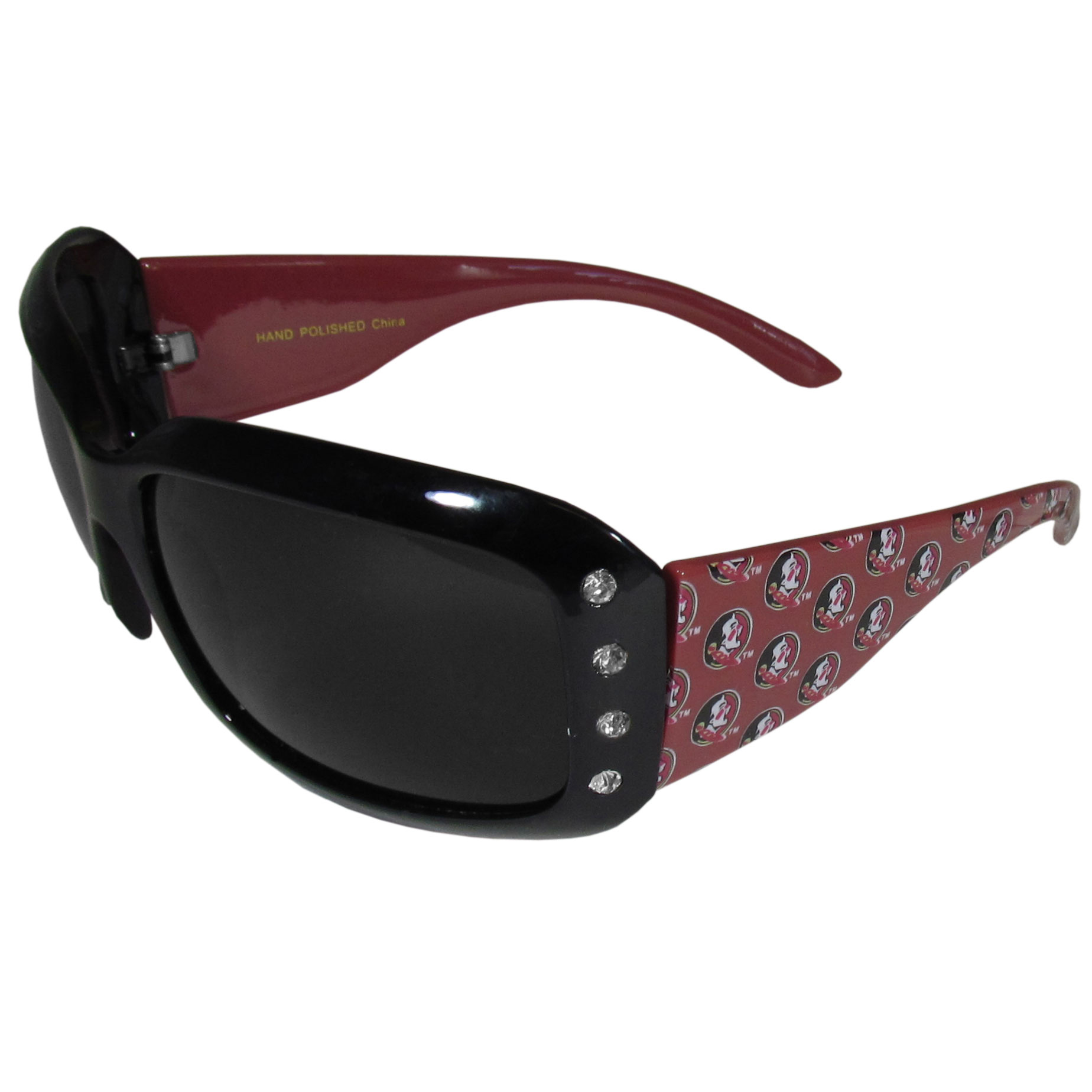 Florida St. Seminoles Designer Women's Sunglasses - Our designer women's sunglasses have a repeating Florida St. Seminoles logo design on the team colored arms and rhinestone accents. 100% UVA/UVB protection.