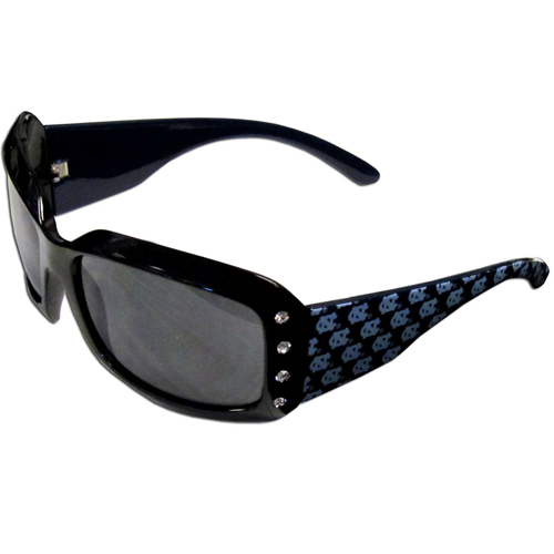 N. Carolina Designer Sunglasses with Rhinestones - Our designer women's sunglasses have a repeating logo design on the team colored arms and rhinestone accents. 100% UVA/UVB protection. Thank you for shopping with CrazedOutSports.com