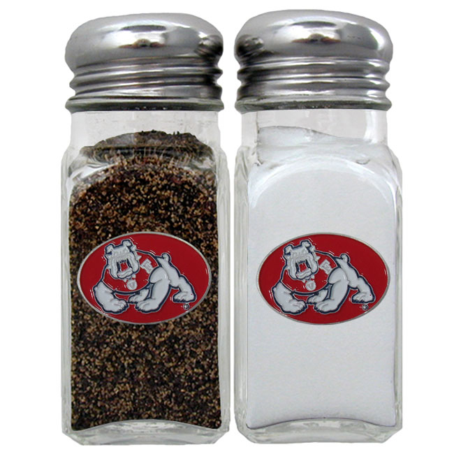 Fresno St. Bulldogs Salt & Pepper Shaker - Our diner replica salt and pepper shakers are the perfect addition to any tailgating or homegating event! The glass shakers have screw on metal tops and feature the Fresno St. Bulldogs logo on each shaker