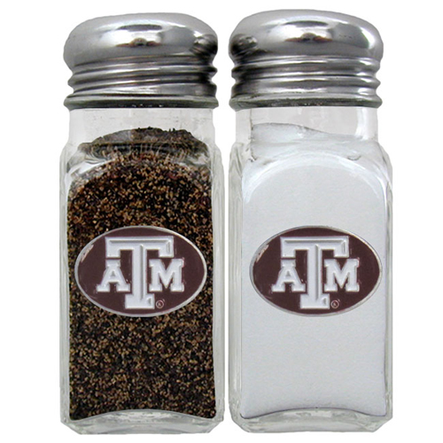 Texas A and M Salt and Pepper Shakers - Our diner relica glass salt and pepper shaker sets feature fully cast & enameled Tennessee emblem on each shaker. They are the perfect addition to any outdoor event or indoor get together. Thank you for shopping with CrazedOutSports.com
