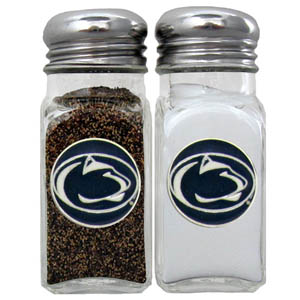 PENN St. Salt & Pepper Shakers - Our diner relica glass salt and pepper shaker sets feature fully cast & enameled PENN St. emblem on each shaker. They are the perfect addition to any outdoor event or indoor get together. Thank you for shopping with CrazedOutSports.com
