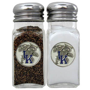 Kentucky Salt & Pepper Shakers - Our diner relica glass salt and pepper shaker sets feature fully cast & enameled Kentucky emblem on each shaker. They are the perfect addition to any outdoor event or indoor get together. Thank you for shopping with CrazedOutSports.com