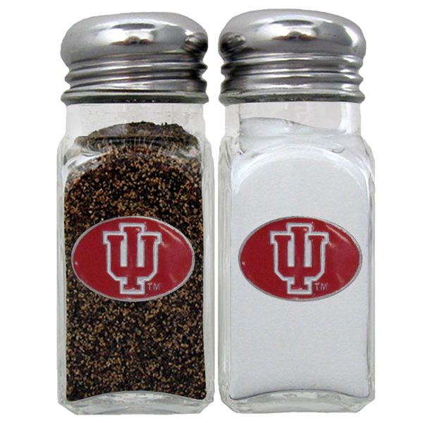 Indiana Hoosiers Salt & Pepper Shaker - Our diner replica salt and pepper shakers are the perfect addition to any tailgating or homegating event! The glass shakers have screw on metal tops and feature the Indiana Hoosiers logo on each shaker