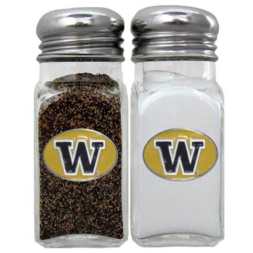 Salt & Pepper Shakers - Washington Huskies - Our collegiate salt and pepper set is a great addition to any tailgating event or backyard BBQ. Thank you for shopping with CrazedOutSports.com
