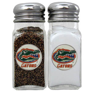 Florida Gators Salt and Pepper Shakers - Our Florida Gators diner replica glass salt and pepper shaker sets feature fully cast & enameled Florida Gators emblem on each shaker. They are the perfect addition to any outdoor event or indoor get together. Thank you for shopping with CrazedOutSports.com