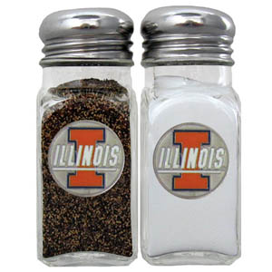 Illinois Fighting Illini Salt & Pepper Shakers - This diner replica Illinois Fighting Illini glass salt and pepper shaker sets feature fully cast & enameled Illinois emblem on each shaker. Illinois Fighting Illini Salt & Pepper Shakers are the perfect addition to any outdoor event or indoor get together. Thank you for shopping with CrazedOutSports.com