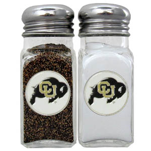 Colorado Golden Buffaloes Salt and Pepper Shakers - Our diner replica glass salt and pepper shaker sets feature fully cast & enameled Colorado Golden Buffaloes emblem on each shaker. They are the perfect addition to any outdoor event or indoor get together. Thank you for shopping with CrazedOutSports.com