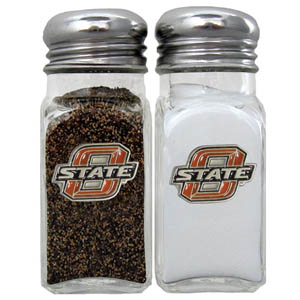 Oklahoma St. Salt & Pepper Shakers - Our diner relica glass salt and pepper shaker sets feature fully cast & enameled Oklahoma St. emblem on each shaker. They are the perfect addition to any outdoor event or indoor get together. Thank you for shopping with CrazedOutSports.com