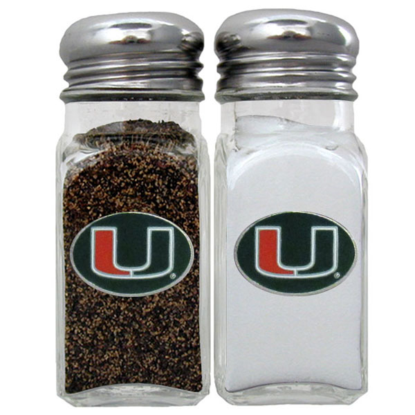 Miami Hurricanes Salt & Pepper Shaker - Our diner replica salt and pepper shakers are the perfect addition to any tailgating or homegating event! The glass shakers have screw on metal tops and feature the Miami Hurricanes logo on each shaker
