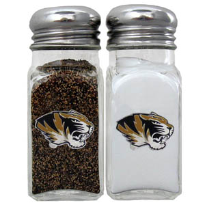 Missouri Salt and Pepper Shakers - Our diner relica glass salt and pepper shaker sets feature fully cast & enameled Missouri emblem on each shaker. They are the perfect addition to any outdoor event or indoor get together. Thank you for shopping with CrazedOutSports.com