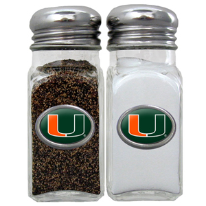 Miami Hurricanes Salt & Pepper Shakers - These glass Miami Hurricanes Salt & Pepper Shakers is a great addition to any tailgating event or backyard BBQ. Thank you for shopping with CrazedOutSports.com