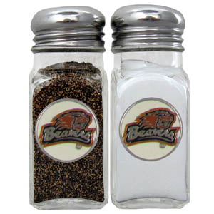 Oregon St. Salt & Pepper Shakers - Our diner relica glass salt and pepper shaker sets feature fully cast & enameled Oregon St. emblem on each shaker. They are the perfect addition to any outdoor event or indoor get together. Thank you for shopping with CrazedOutSports.com