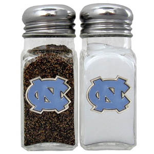 N. Carolina Salt & Pepper Shakers - Our diner relica glass salt and pepper shaker sets feature fully cast & enameled N. Carolina on each shaker. They are the perfect addition to any outdoor event or indoor get together. Thank you for shopping with CrazedOutSports.com