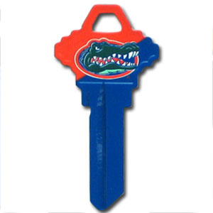 Schlage Key - Florida Gators - College house keys are a great way to show Florida Gators school spirit while keeping keys organized. Keys can be cut to fit your home or office Schlage keys (reference pre-fix CQK for Kwikset keys).  Thank you for shopping with CrazedOutSports.com