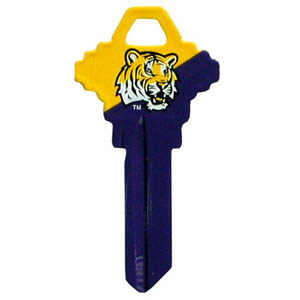 LSU Tigers Schlage Key - LSU Tigers Schlage College house keys are a great way to show school spirit while keeping keys organized. LSU Tigers Schlage Keys can be cut to fit your home or office Schlage keys (reference pre-fix CQK for Kwikset keys).  Thank you for shopping with CrazedOutSports.com