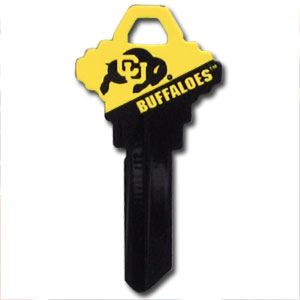 Schlage Key - Colorado Buffaloes - College house keys are a great way to show Colorado Buffaloes school spirit while keeping keys organized. Keys can be cut to fit your home or office Schlage keys (reference pre-fix CQK for Kwikset keys).  Thank you for shopping with CrazedOutSports.com