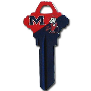 Schlage Key - Mississippi Rebels - College house keys are a great way to show school spirit while keeping keys organized. Keys can be cut to fit your home or office Schlage keys (reference pre-fix CQK for Kwikset keys).  Thank you for shopping with CrazedOutSports.com