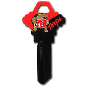 Maryland Terrapins Schlage Key - Maryland Terrapins College house keys are a great way to show school spirit while keeping keys organized. Keys can be cut to fit your home or office Schlage keys (reference pre-fix CQK for Kwikset keys).  Thank you for shopping with CrazedOutSports.com
